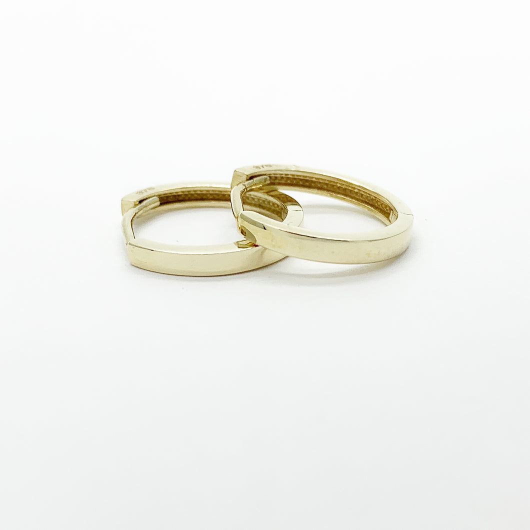 Yellow Gold Plain Huggie Earrings