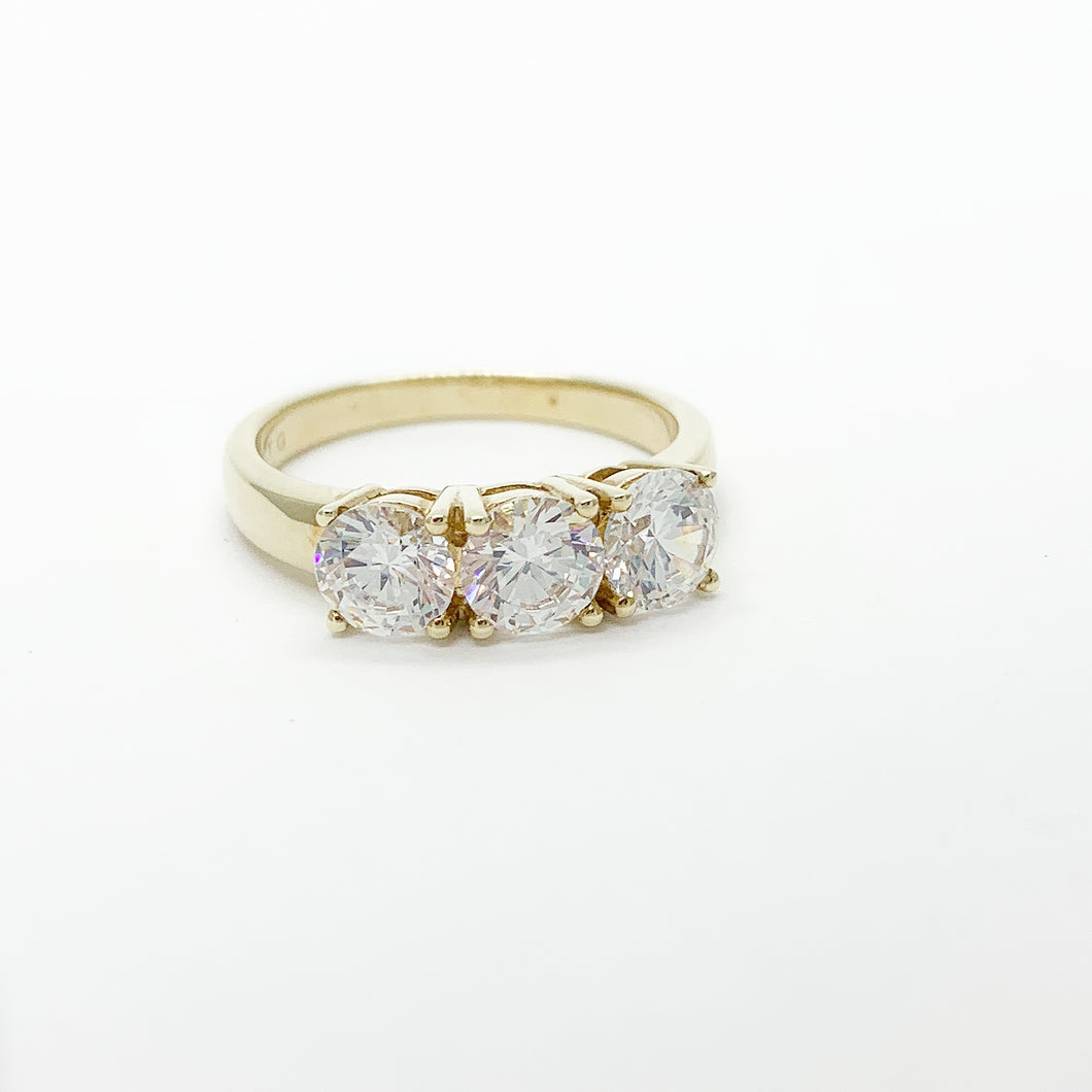 Yellow Gold Swarovski CZ Ring