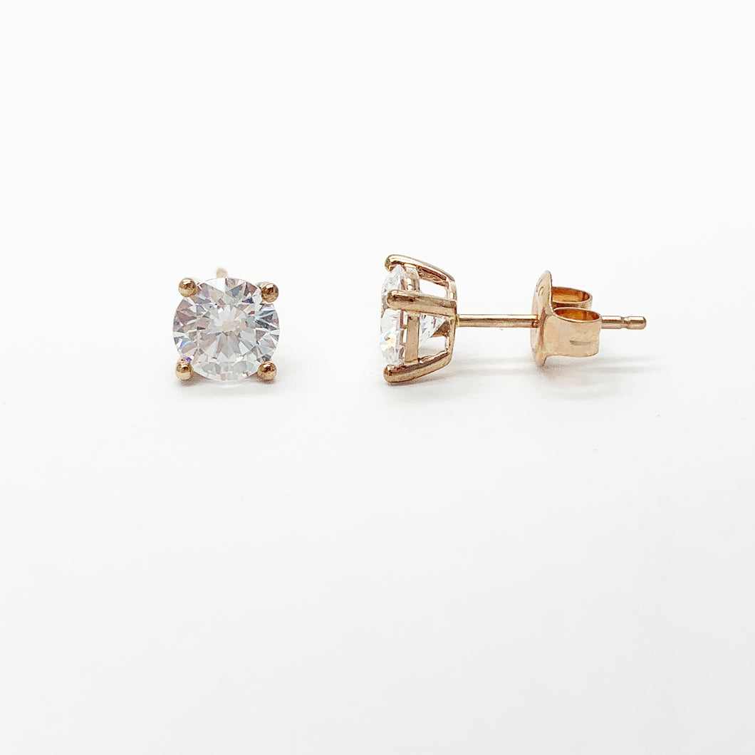 Rose Gold Swarovski CZ Stud Earrings