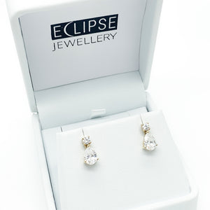 Yellow Gold Swarovski CZ Stud Earrings