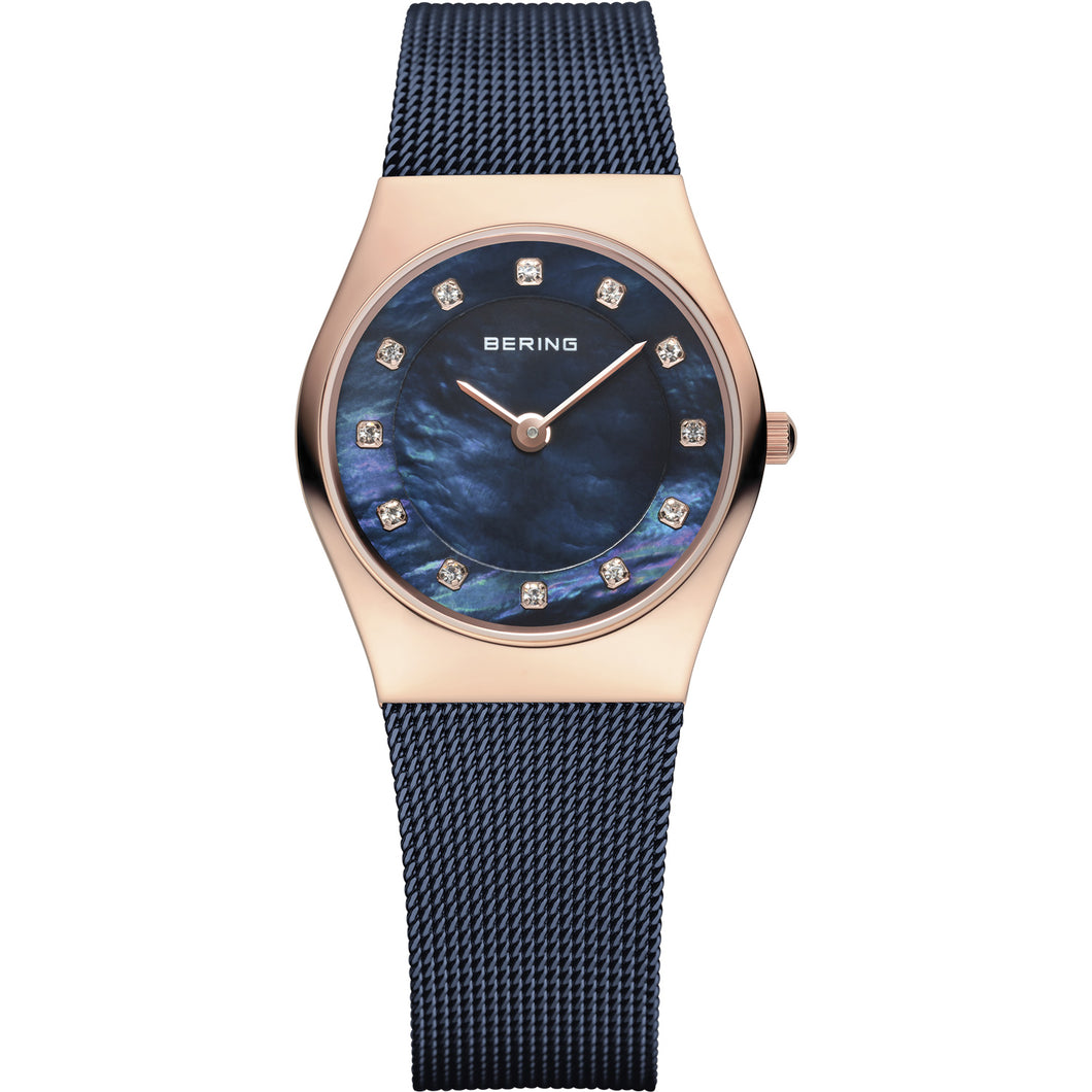 Bering Classic Collection Blue/Rose Gold Watch