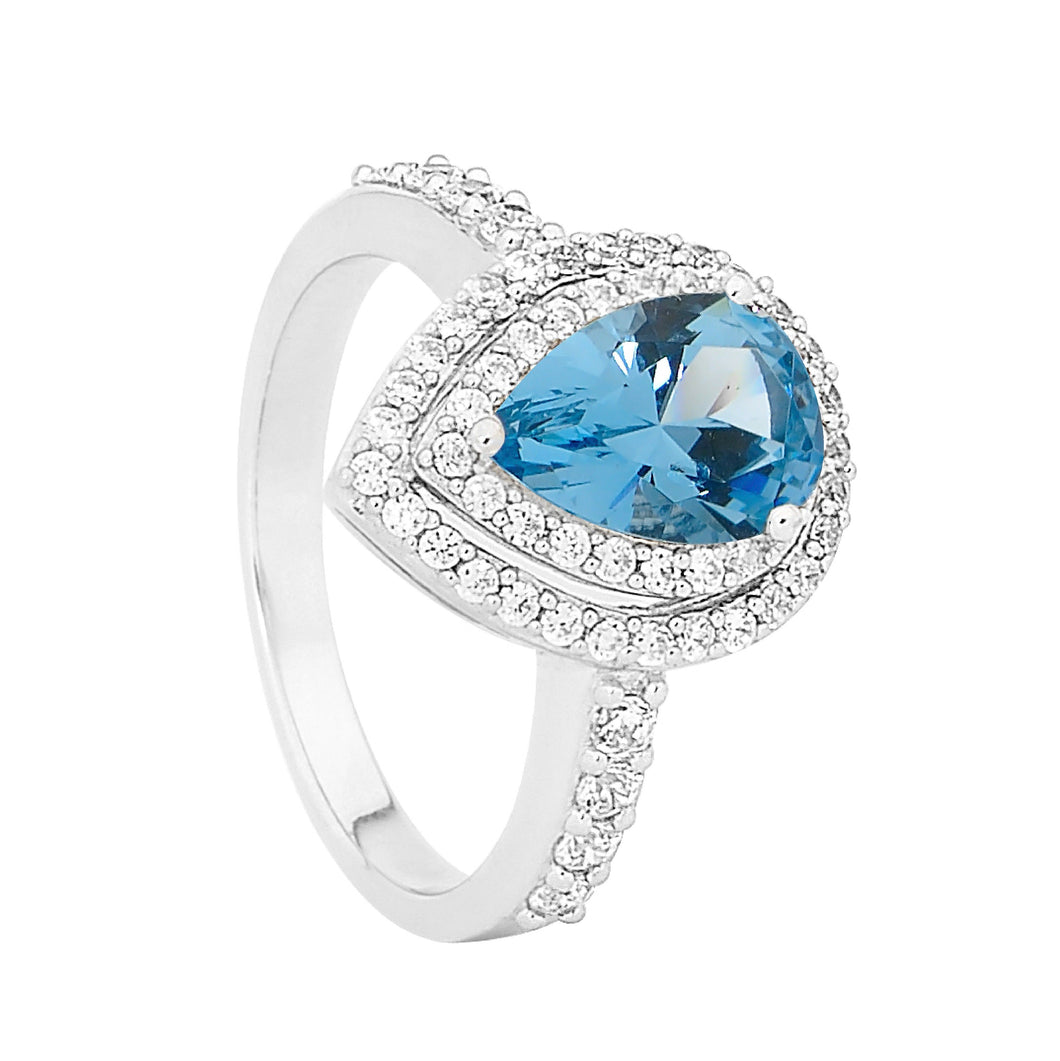 Ellani Sterling Silver Blue & White CZ Halo Ring