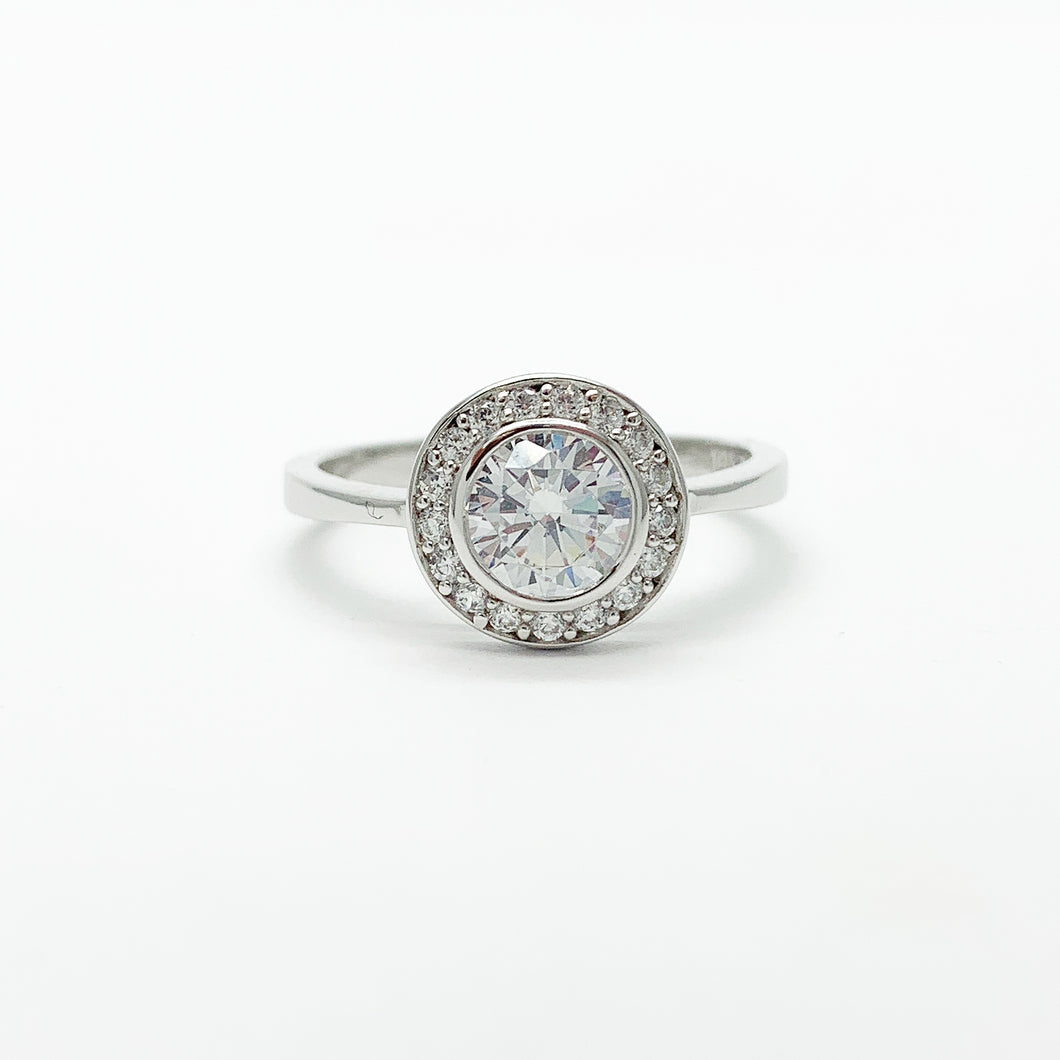 Sterling Silver CZ Halo Ring