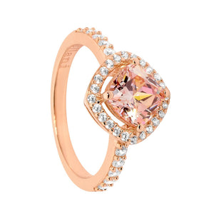 Ellani Rose Gold Plated CZ Halo Ring