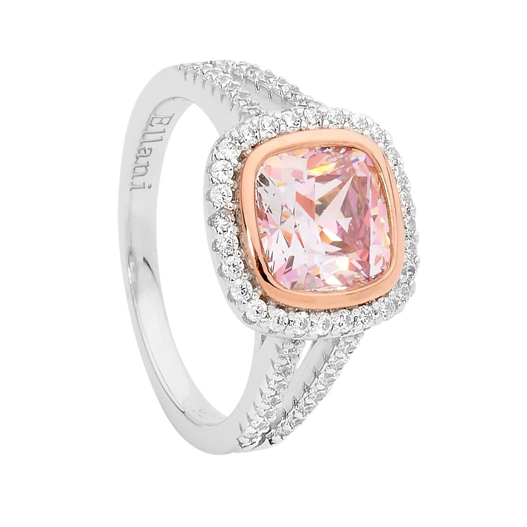 Ellani Sterling Silver Pink & White CZ Halo Ring
