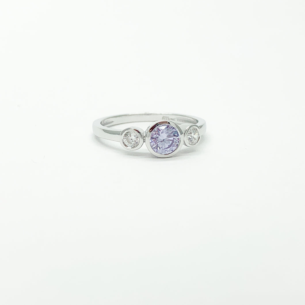 Sterling Silver Coloured Stone Trilogy Ring