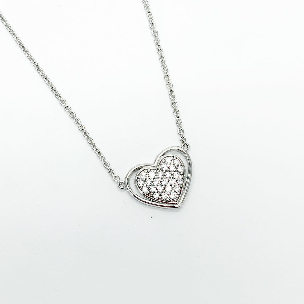 Sterling Silver Heart CZ Necklet
