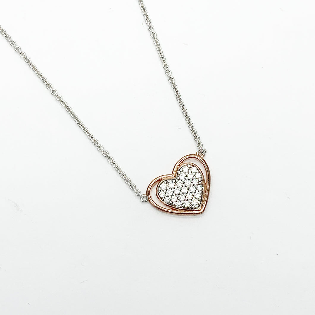 Sterling Silver & Rose Gold Plated Heart CZ Necklet