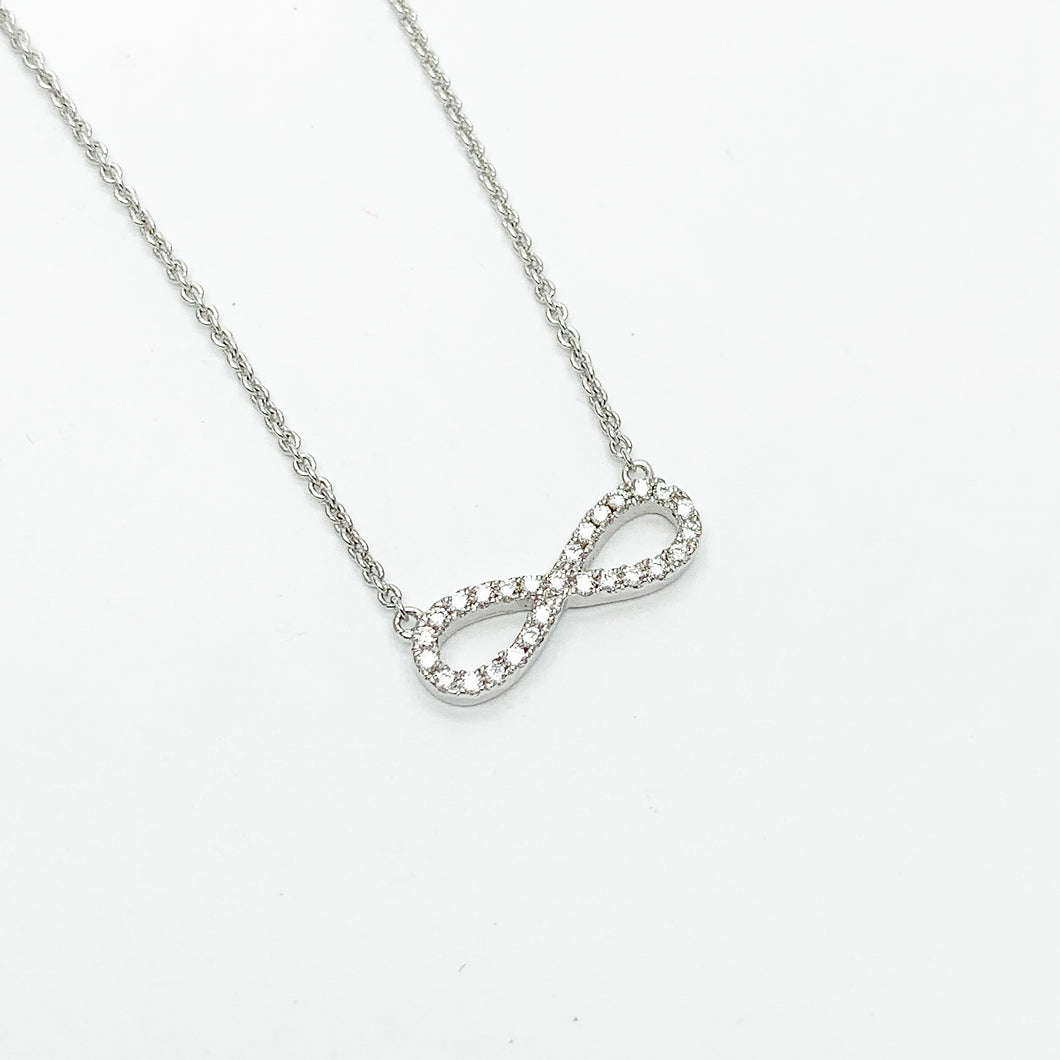 Sterling Silver CZ Infinity Necklet