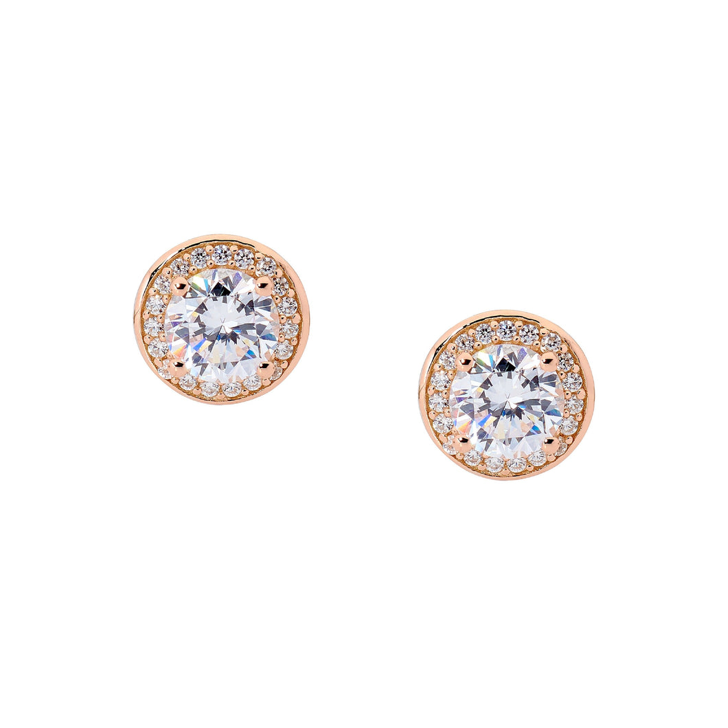 Ellani Sterling Silver CZ Halo Stud Earrings