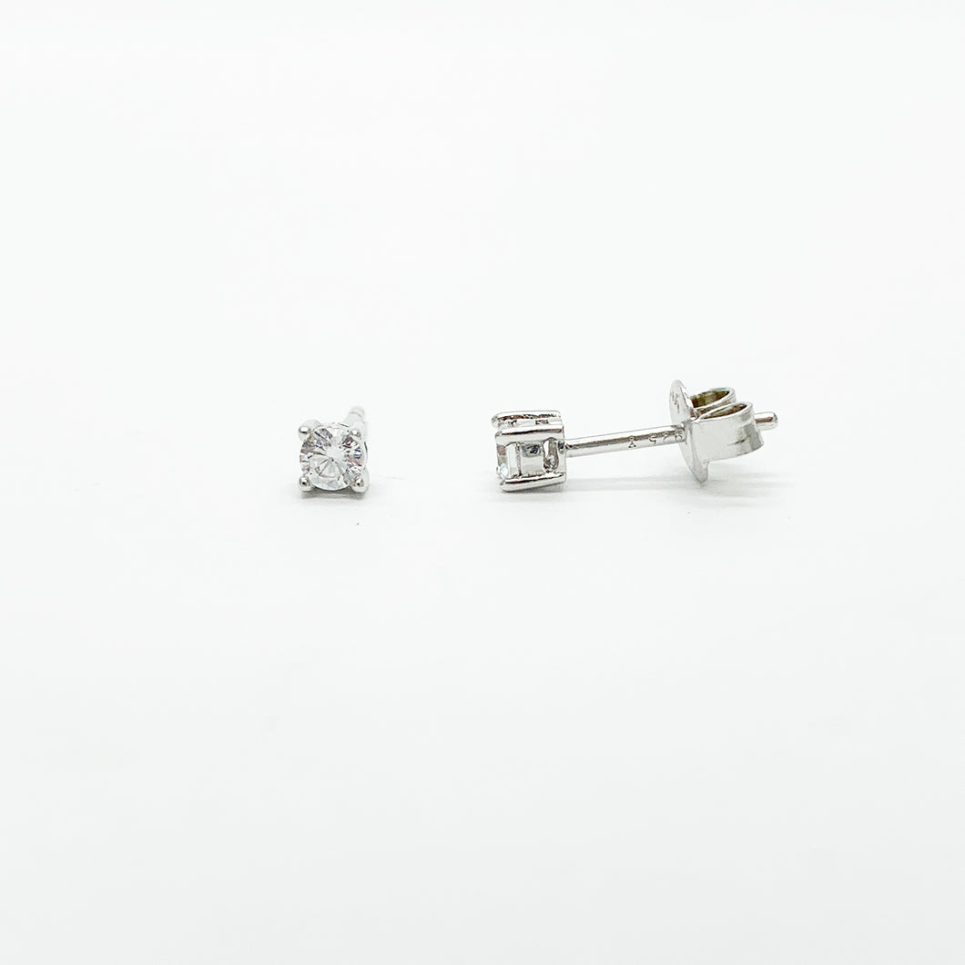 Sterling Silver 3mm CZ Stud Earrings