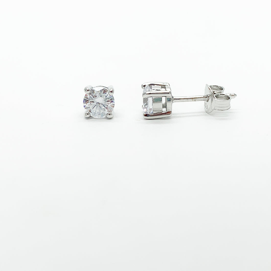 Sterling Silver 5mm CZ Stud Earrings