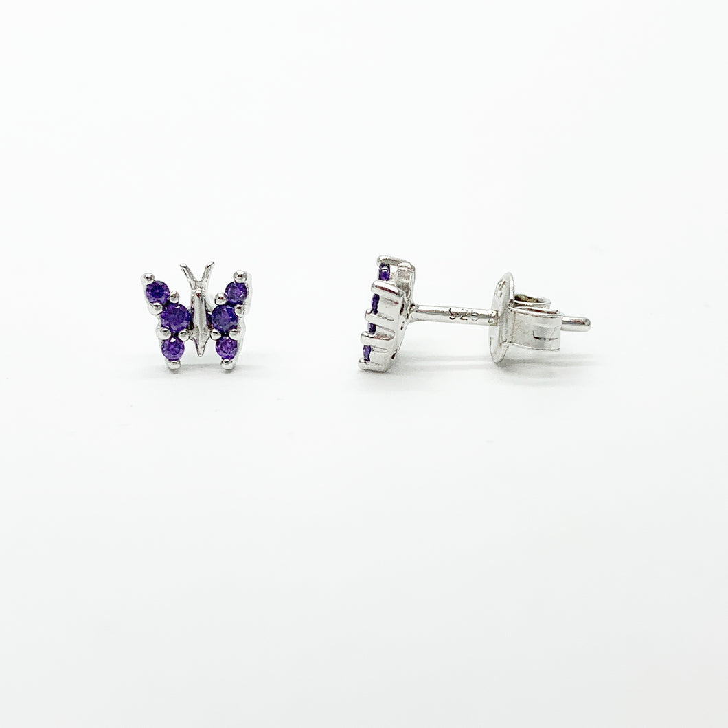 Sterling Silver Purple CZ Butterfly Stud Earrings