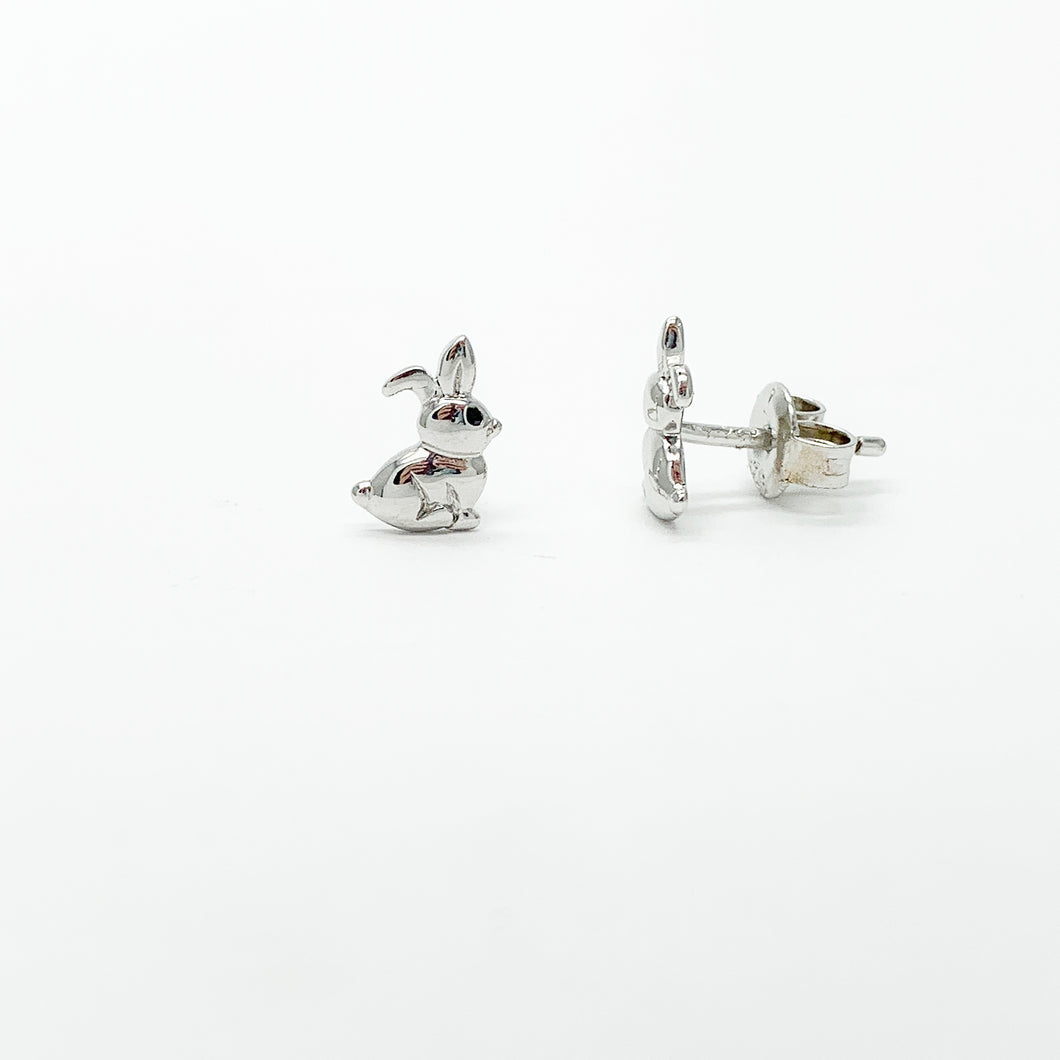 Sterling Silver Bunny Stud Earrings