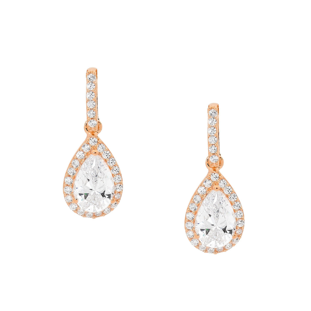 Ellani Rose Gold Plated Pear-Shaped CZ Drop Stud Earrings