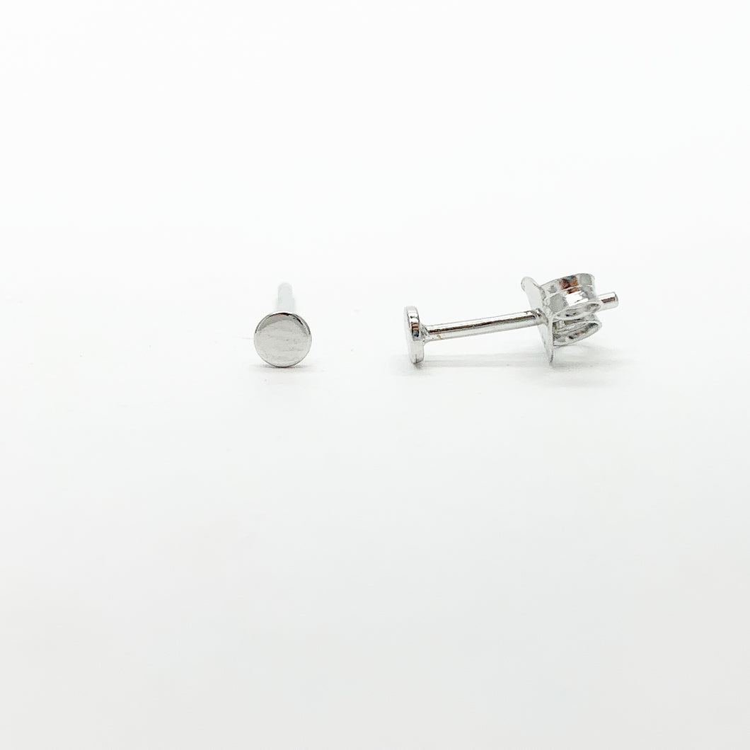 Sterling Silver 3mm Disc Stud Earrings