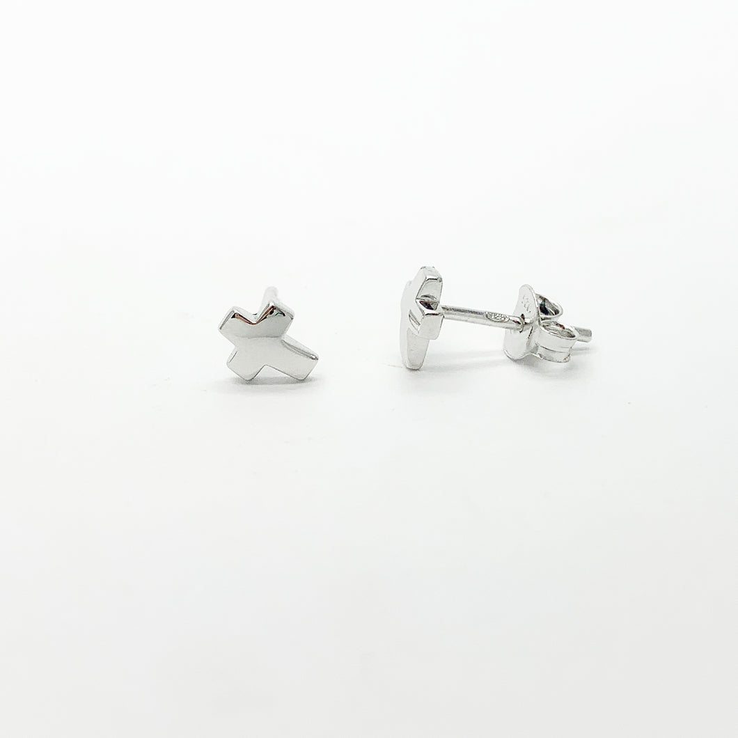 Sterling Silver Small Cross Stud Earrings