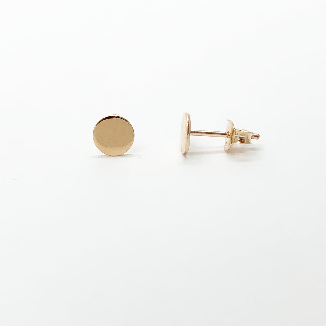Rose Gold Plated Sterling Silver 6mm Disc Stud Earrings