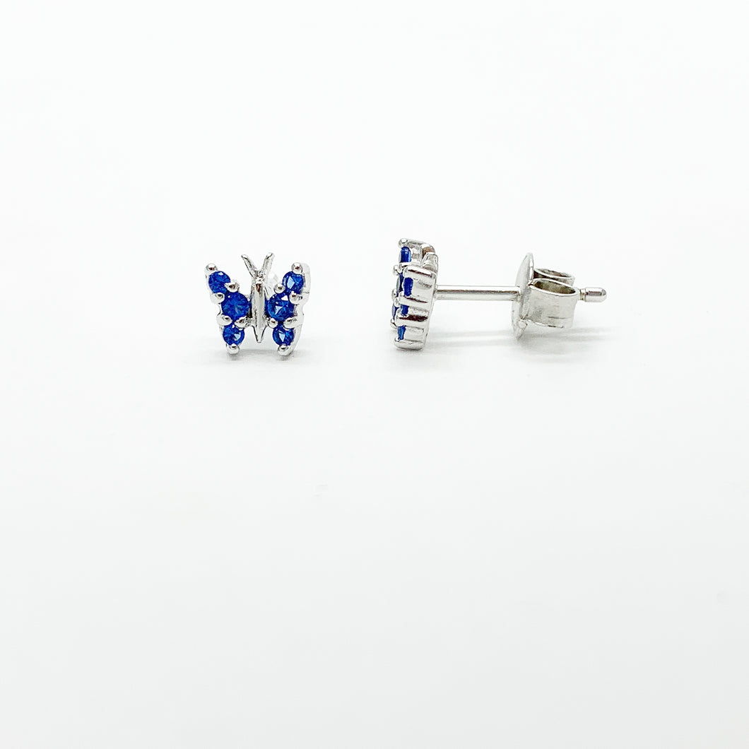 Sterling Silver Blue CG Butterfly Stud Earrings