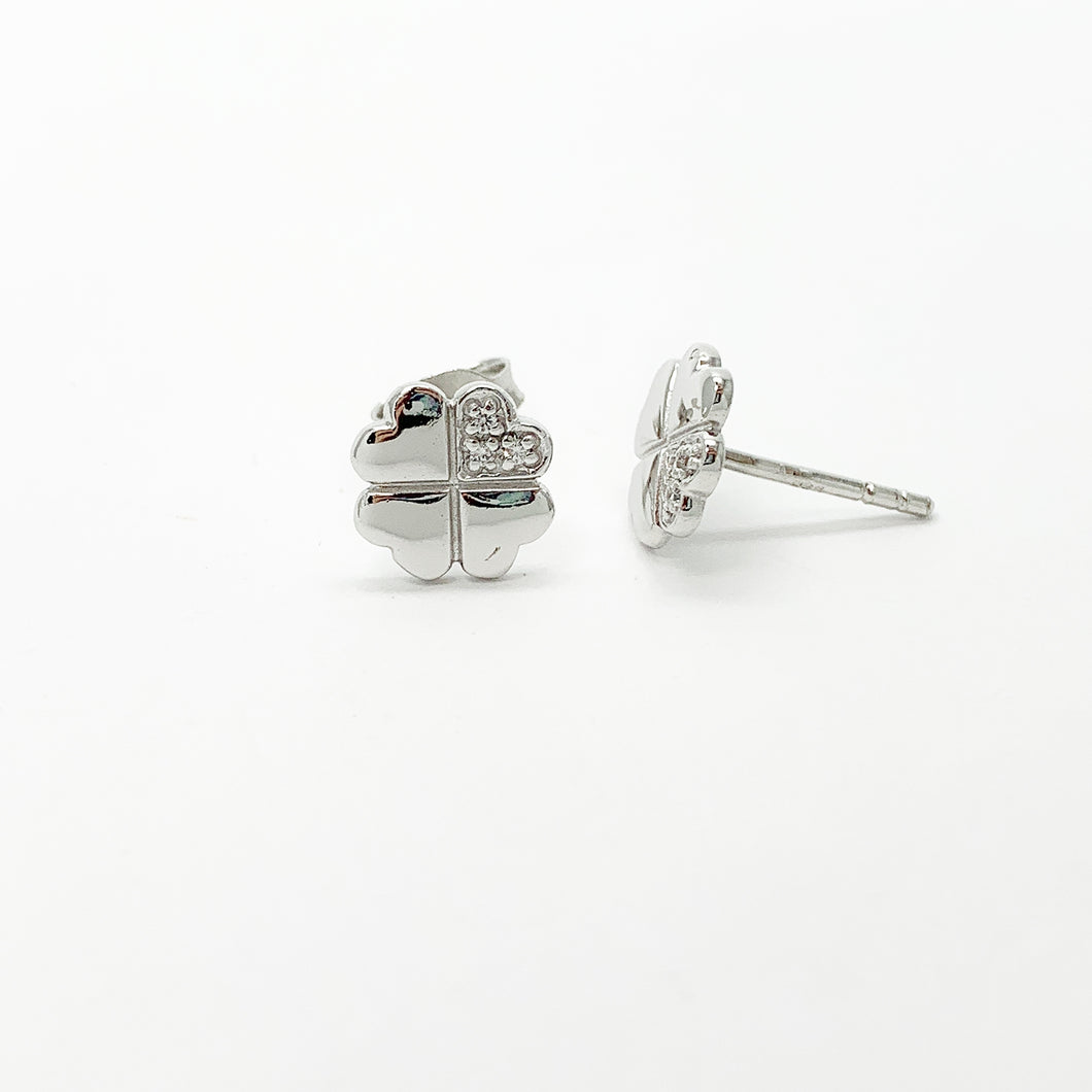 Sterling Silver CZ Clover Stud Earrings