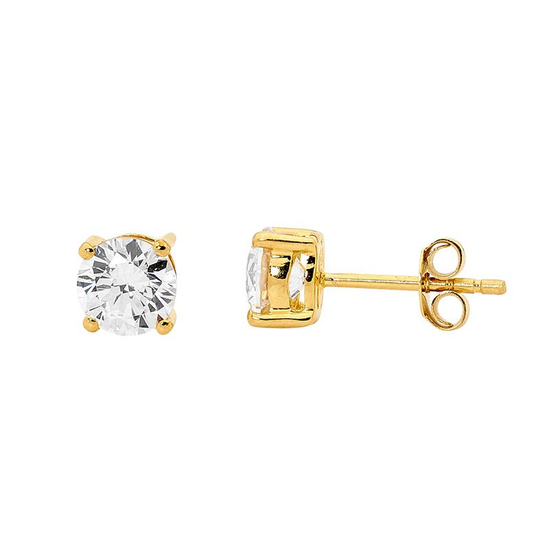 Ellani Yellow Gold Plated 5mm CZ Stud Earrings