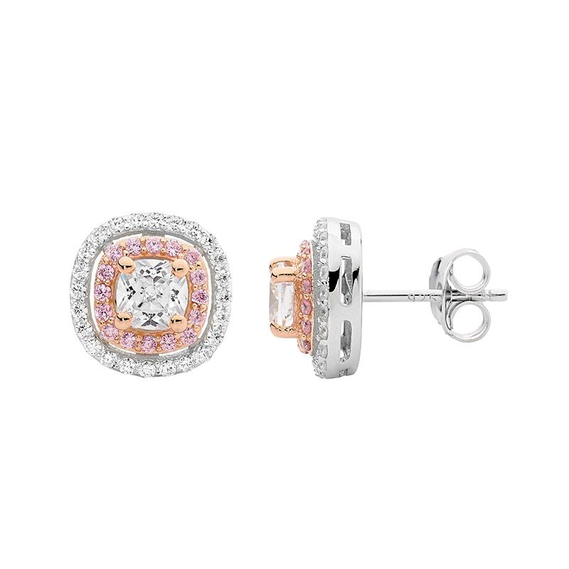 Ellani Sterling Silver White & Pink CZ Stud Earrings