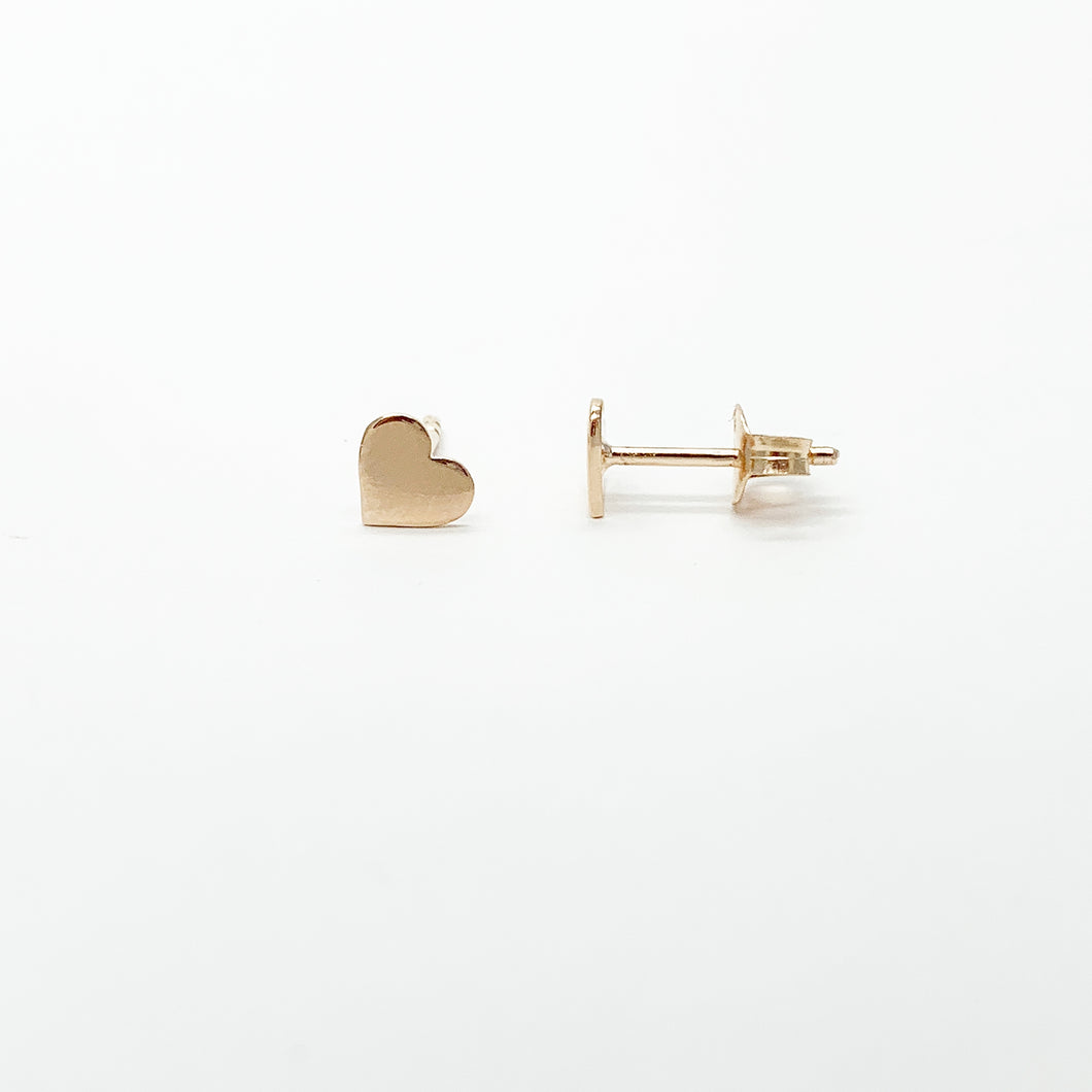 Rose Gold Plated Sterling Silver 6mm Heart Disc Stud Earrings