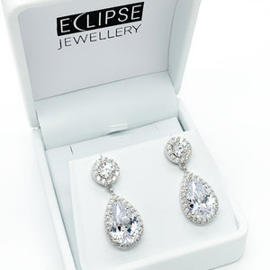 Sterling Silver CZ Drop Stud Earrings