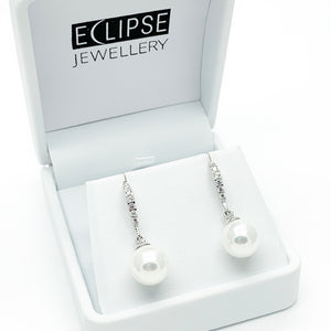 Sterling Silver Pearl & CZ Drop Shepherd Hook Earrings