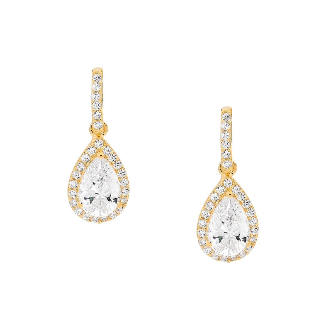 Ellani Yellow Gold Plated CZ Drop Stud Earrings