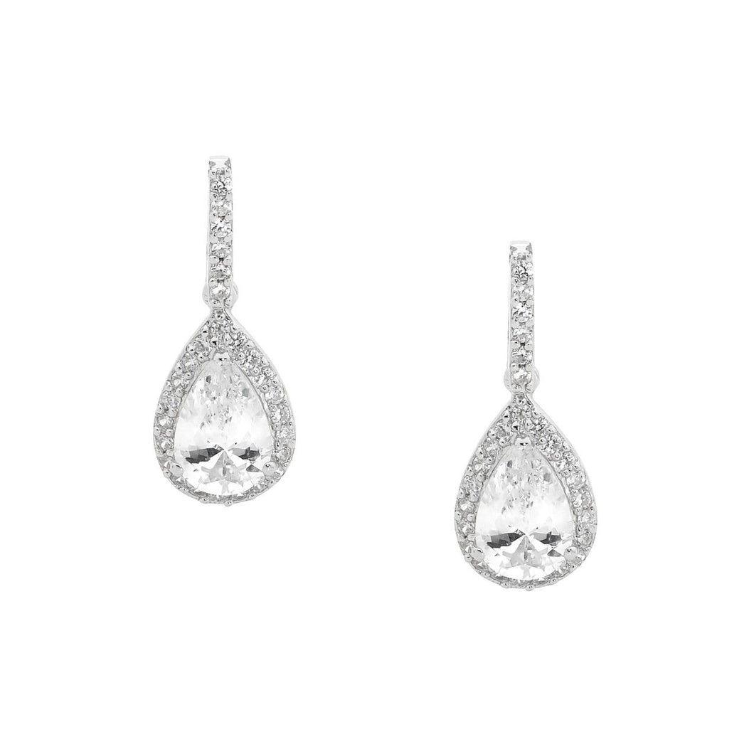 Ellani Sterling Silver CZ Drop Stud Earrings