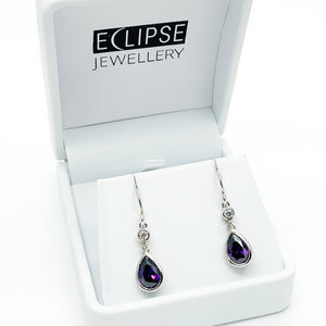 Sterling Silver Purple CZ Drop Shepherd Hook Earrings