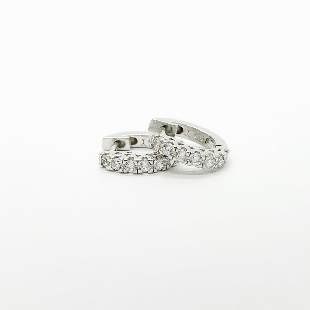 Sterling Silver CZ Huggie Earrings