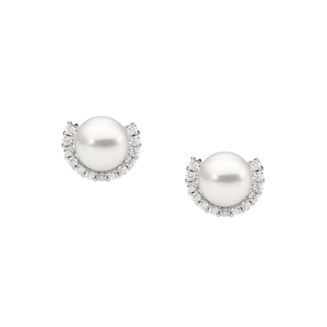 Ellani Sterling Silver Pearl & CZ Stud Earrings