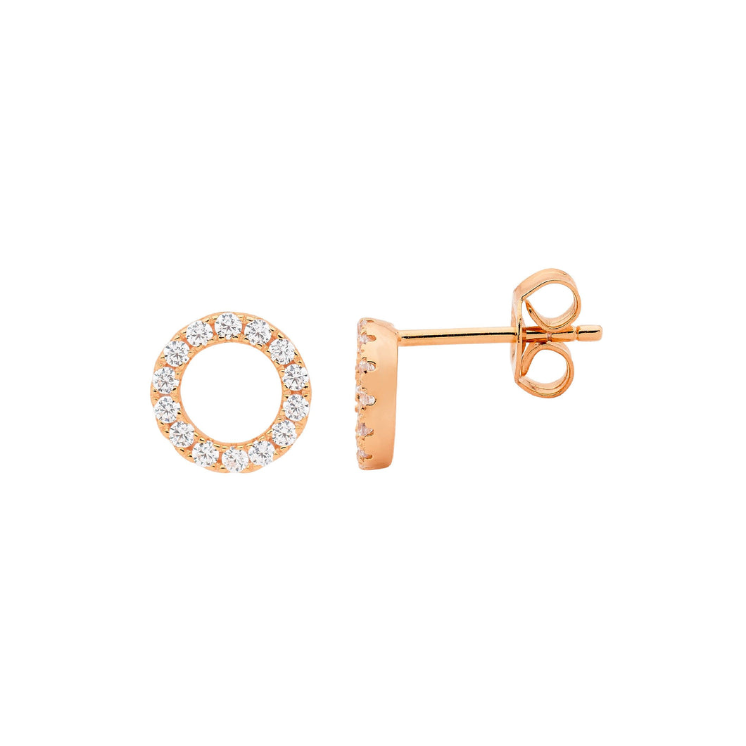 Ellani Sterling Silver/Rose Gold Plated Stud Earrings