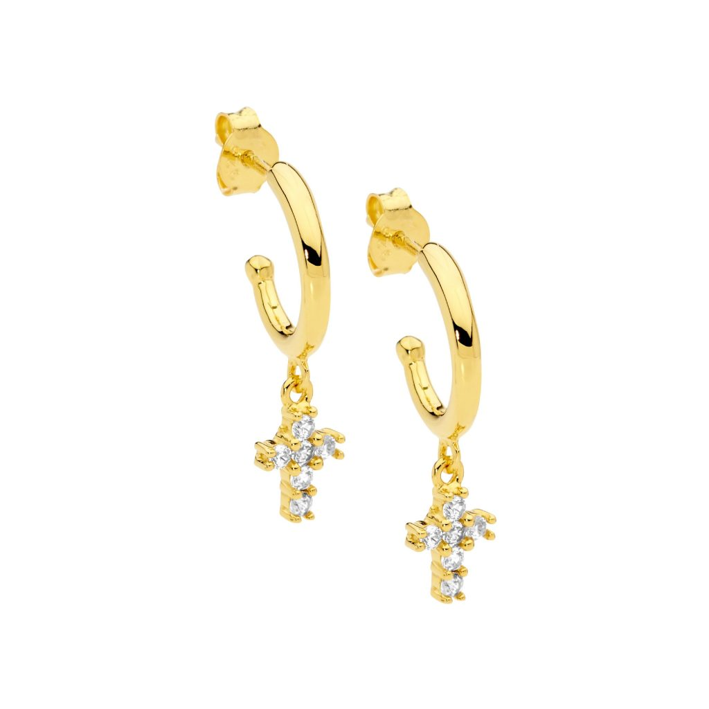 Ellani Gold Plated CZ Hoop Earrings