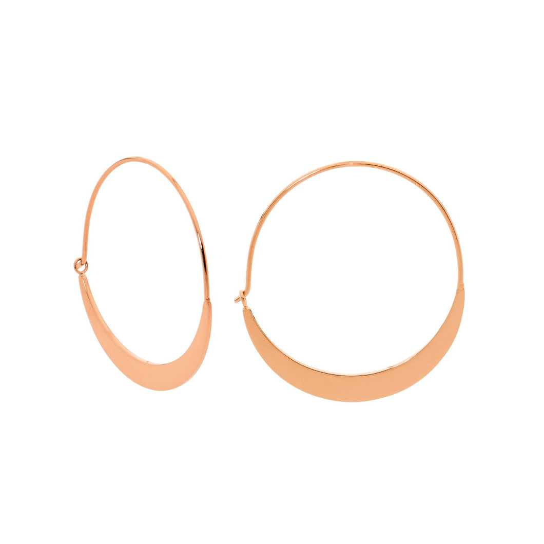 Ellani Stainless Steel/Rose Gold Plated Hoop Earrings