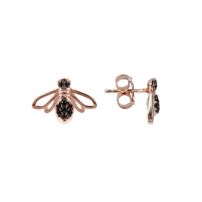 Bronzeallure Black Spinel Stud Earrings