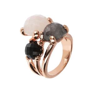 Bronzeallure Rose Quartz, Black Onyx & Cloudy Quartz Ring