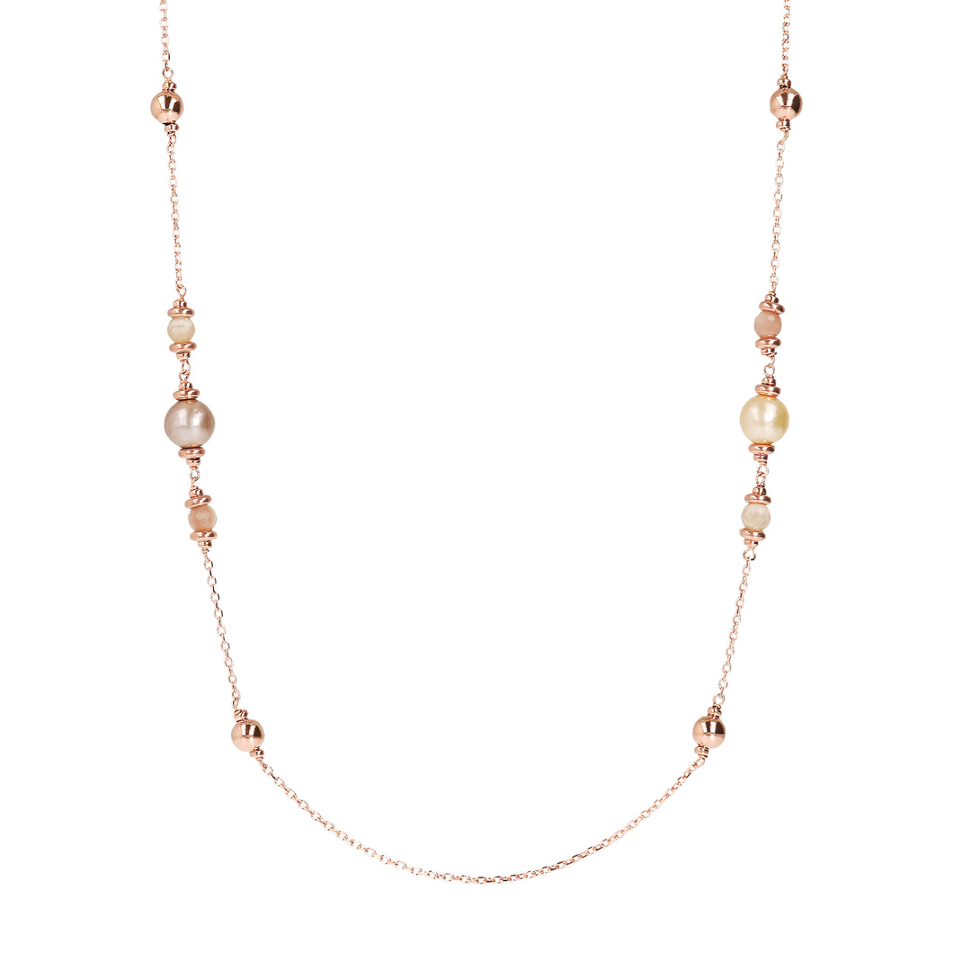 Bronzeallure Pearl & Peach Moonstone Necklace