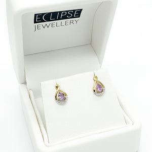 Yellow Gold Amethyst and Diamond Stud Earrings