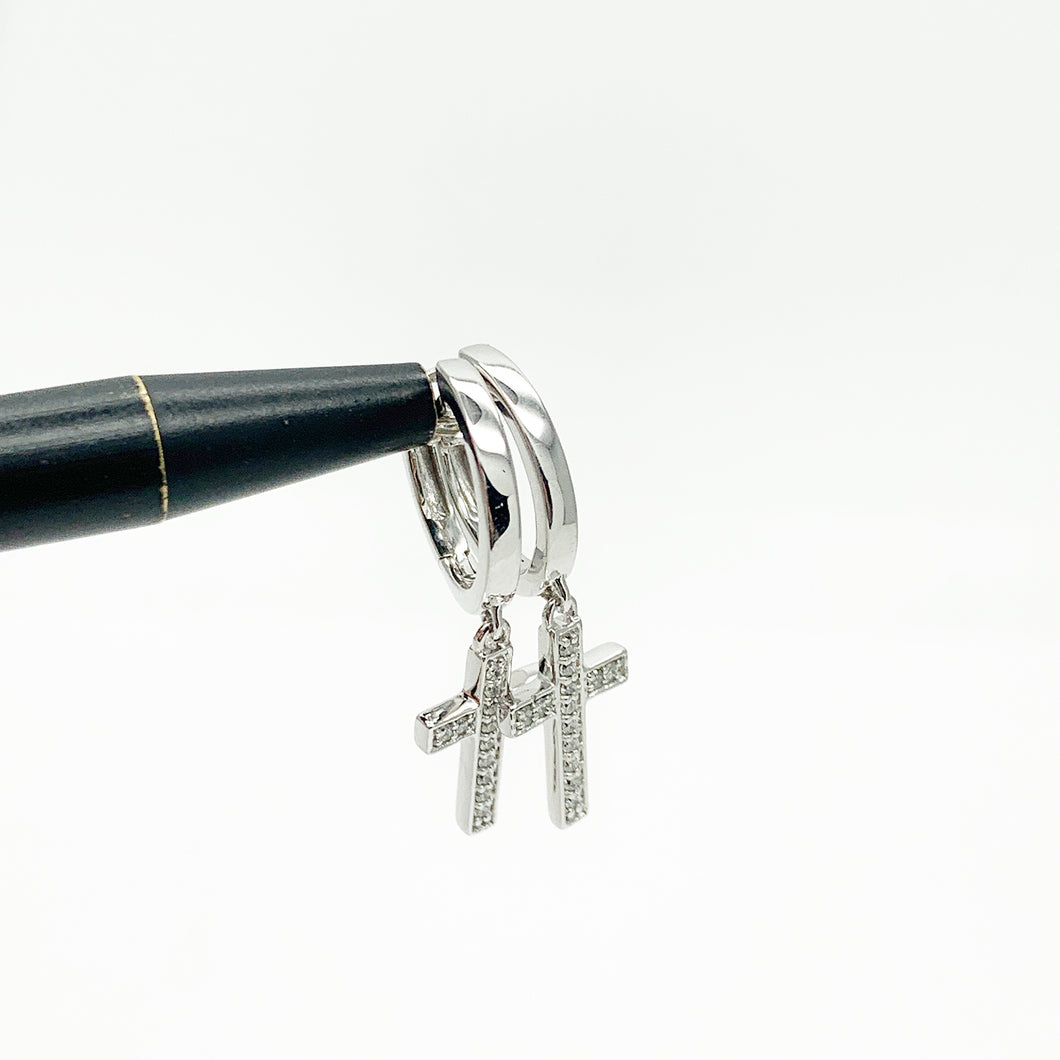 White Gold Huggie Earrings