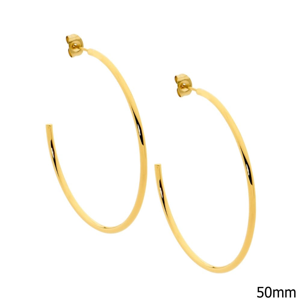 Ellani Stainless Steel/Gold Plated 50mm Hoop Earrings