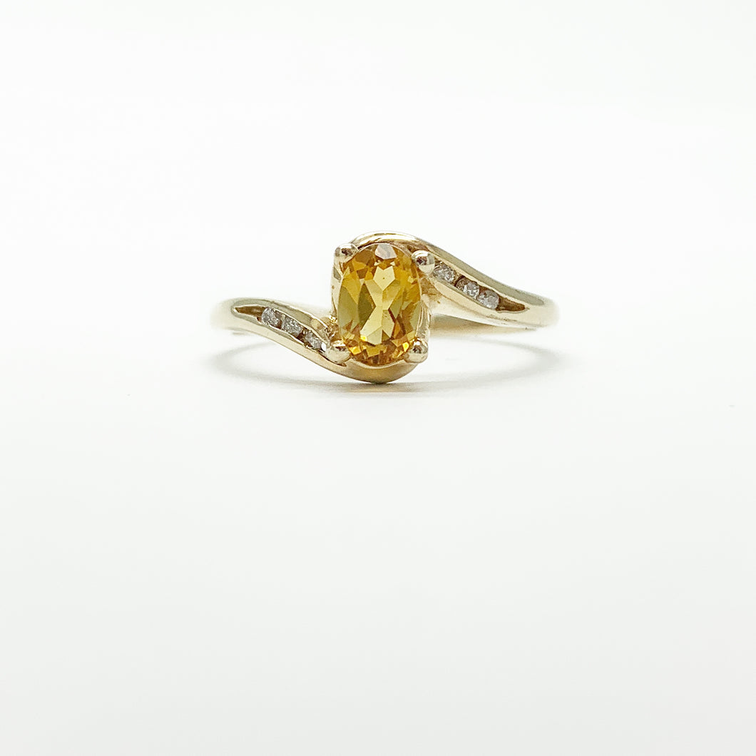 Yellow Gold Citrine and Diamond Ring