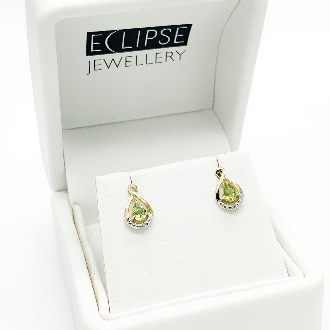 Yellow Gold Peridot and Diamond Stud Earrings