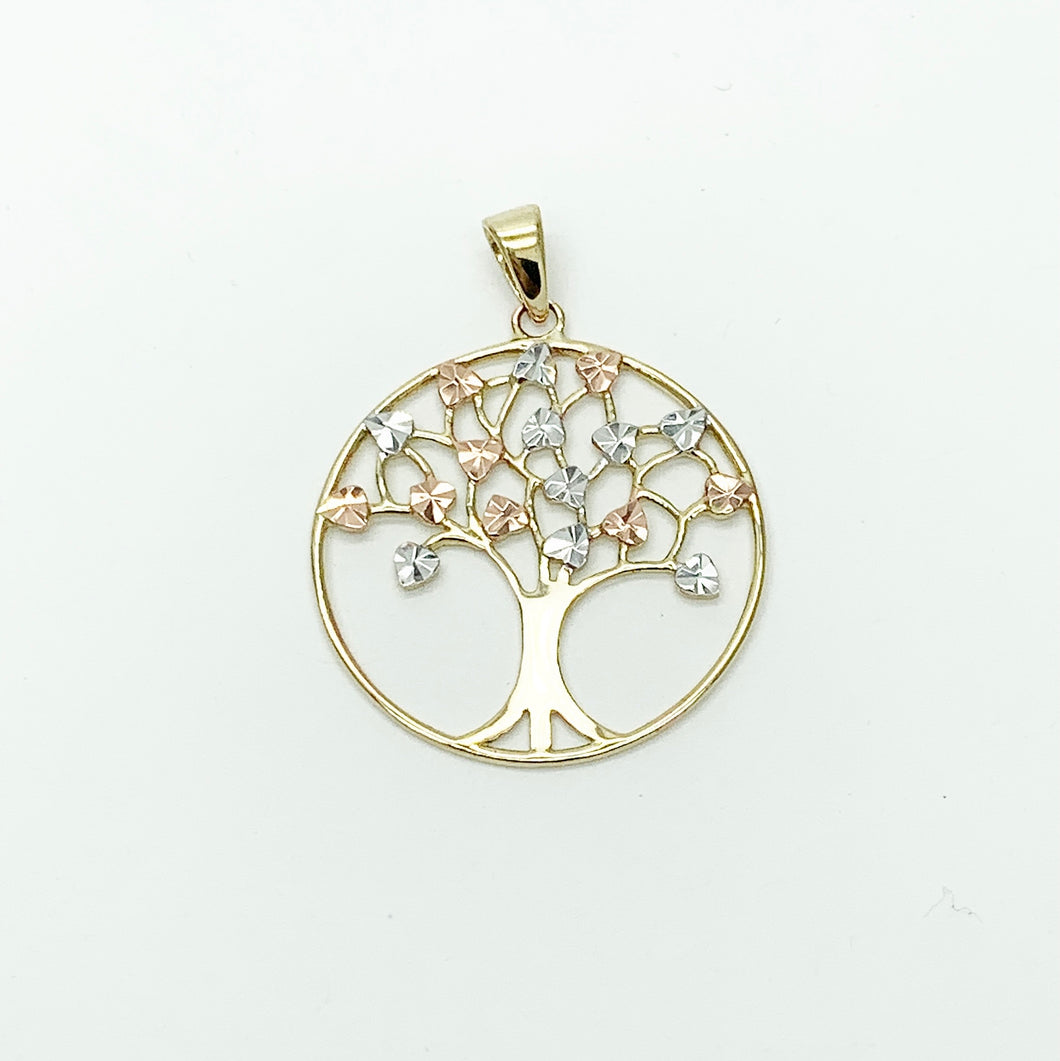 Yellow/White/Rose Gold Tree of Life Pendant