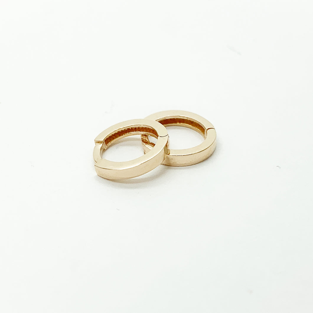 Rose Gold 8mm Plain Huggie Earrings