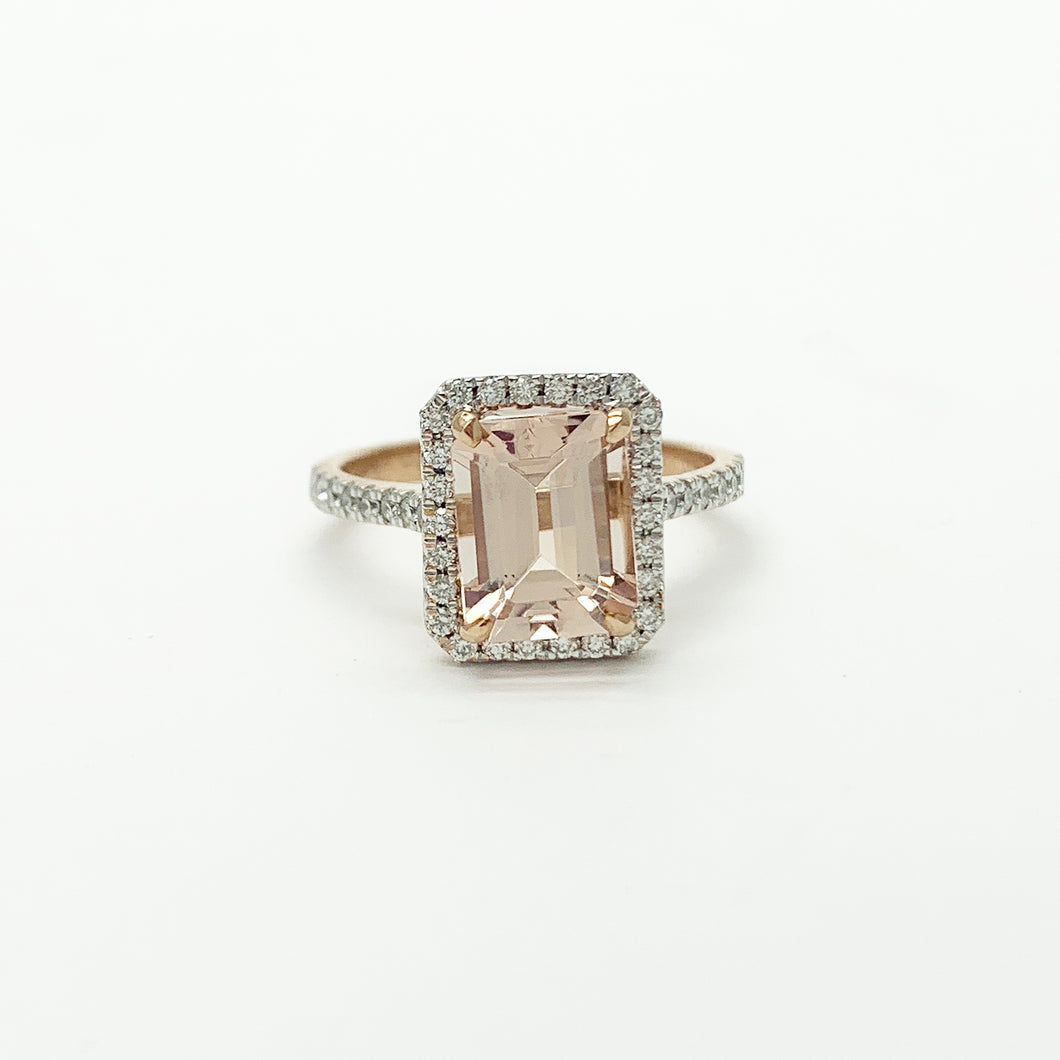 Rose Gold Morganite & Diamond Ring