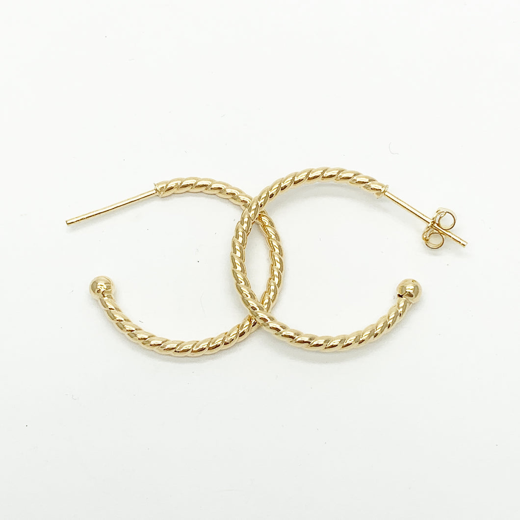 Yellow Gold Hoop Stud Earrings