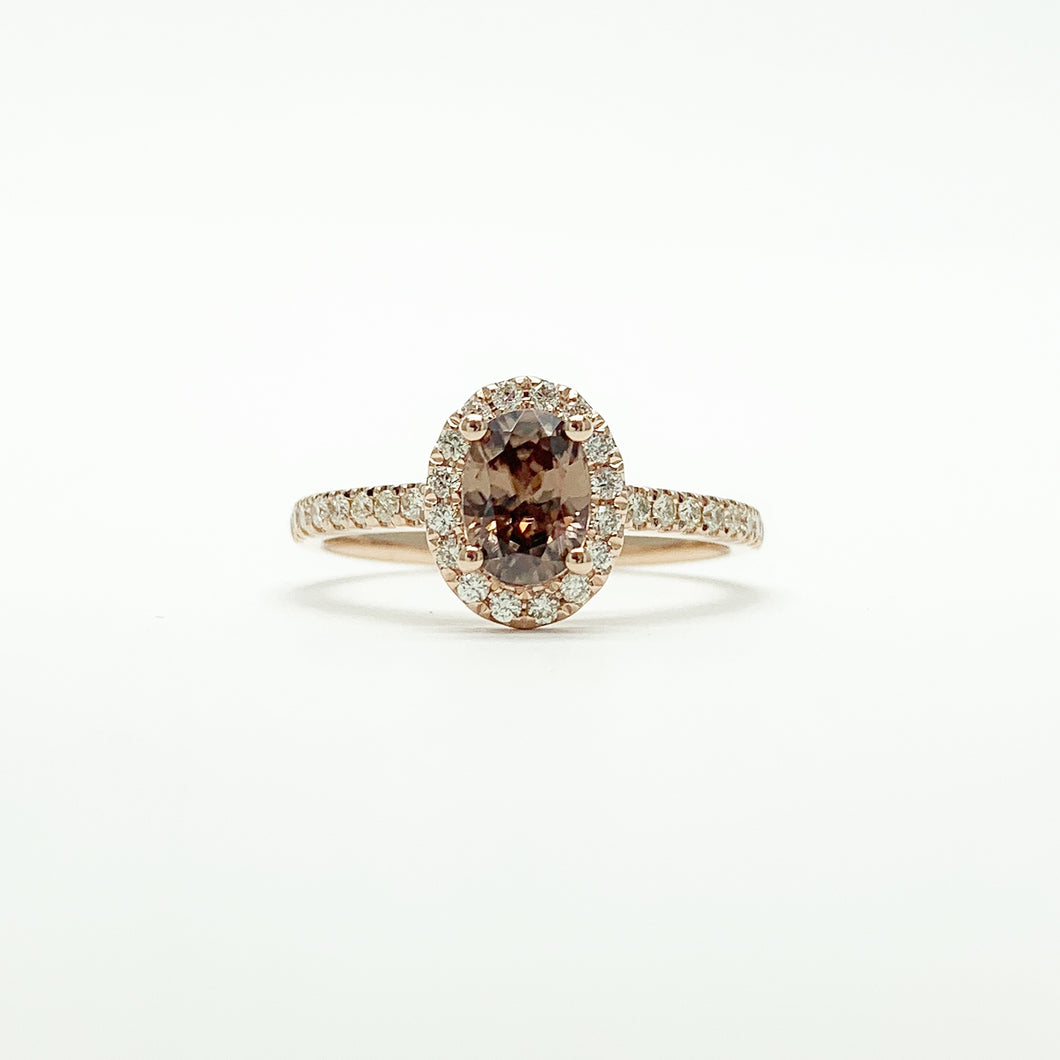 Rose Gold Zircon and Diamond Ring
